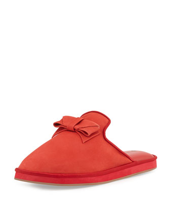 Daria Suede Bow Slipper, Red