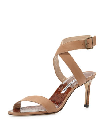 Lecara Ankle-Wrap Sandal, Brown