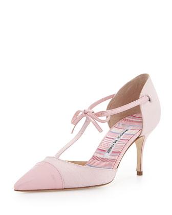 Parigatam T-Strap Bow Pump, Pink