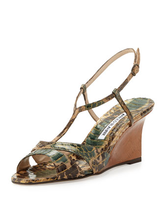 Atracon Camo Snake Wedge Sandal, Army Green