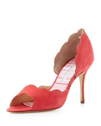 Iagu Scalloped Suede d'Orsay, Coral