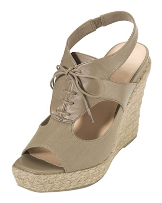 Heath Lace-Up Wedge Sandal, Summer Khakis