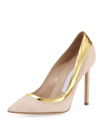 Pretati Suede Metallic-Trimmed Pump, Beige/Gold