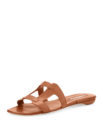 Grella Leather Flat Sandal, Luggage
