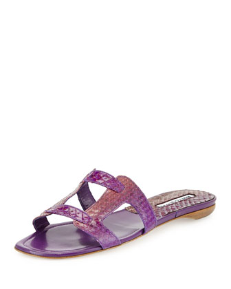 Grella Pieced Snakeskin Flat Slide Sandal, Fuchsia/Purple