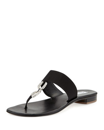 Ilana Jeweled Thong Sandal, Black