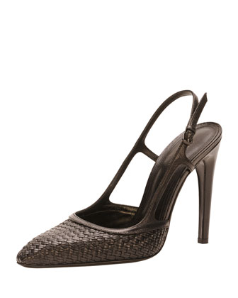 Woven High-Heel Slingback Pump, Black