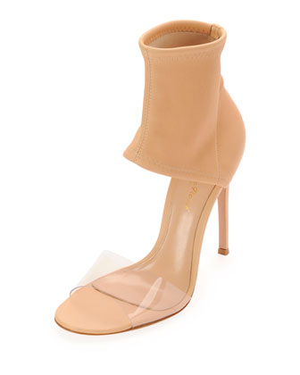 Napa Stretch Ankle-Band Sandal, Tan