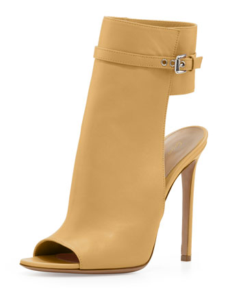 Leather Ankle-Cuff Sandal, Tan