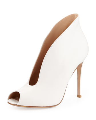 Leather Split Peep-Toe Bootie, Cream