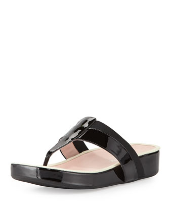 August Patent Footbed Sandal, Black