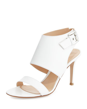 Leather Halter Sling Sandal, Bianco White