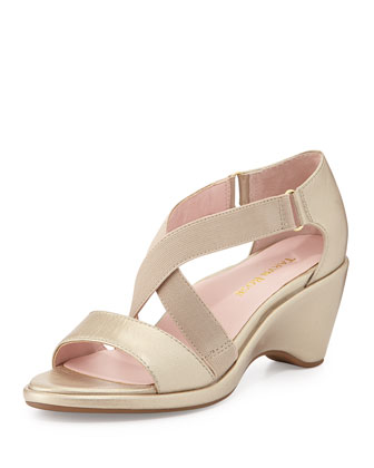 Maura Crisscross Stretch Wedge Sandal, Soft Gold