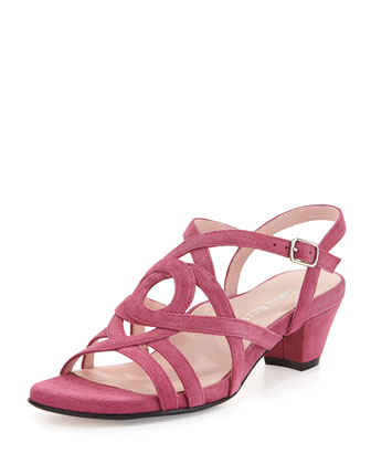 Oma Suede Strappy Sandal, Magenta