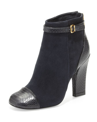 Gracie Suede Ankle Boot, Navy/Black