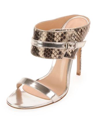 Python Metallic Slide Sandal, Argento
