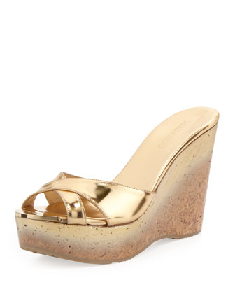 Perfume Cork Wedge Slide, Gold