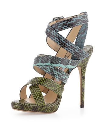 Strappy Snakeskin Sandal, Seamix