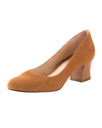 Chelsea Suede Low-Heel Pump, Camello