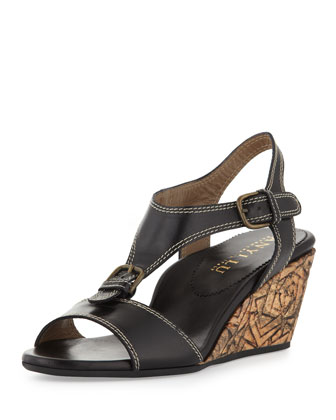 Lolita Buckled Wedge Sandal, Black