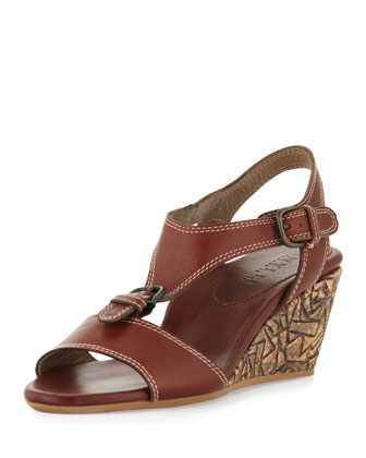 Lolita Buckled Wedge Sandal, Espresso