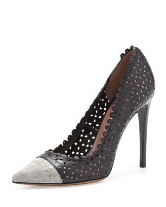 Dalia Chain-Toe Scalloped Leather Pump, Black