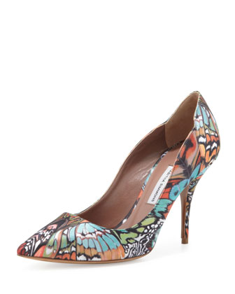 Dela Butterfly-Print Satin Pump