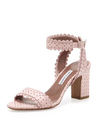 Leticia Scalloped Chunky Low-Heel Sandal, Blush