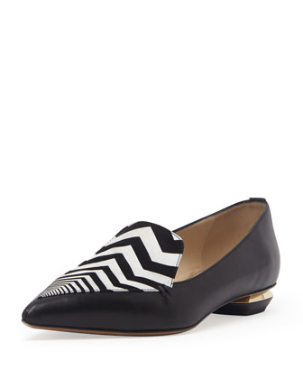 Zigzag Point-Toe Loafer, Black/White