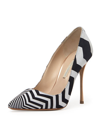 Zigzag Suede Point-Toe Pump, Black/White