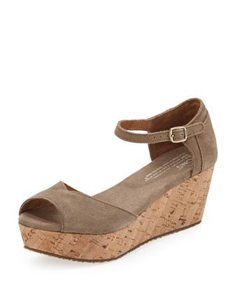 Suede Platform Wedge Sandal, Taupe