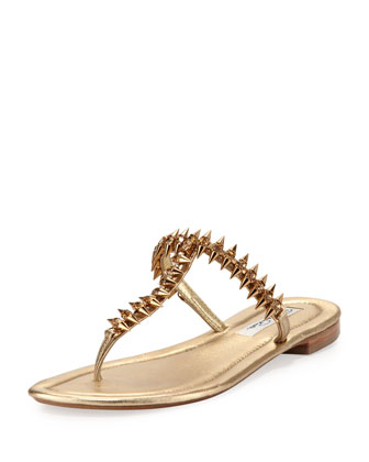 Joan Spiked Crystal Thong Sandal