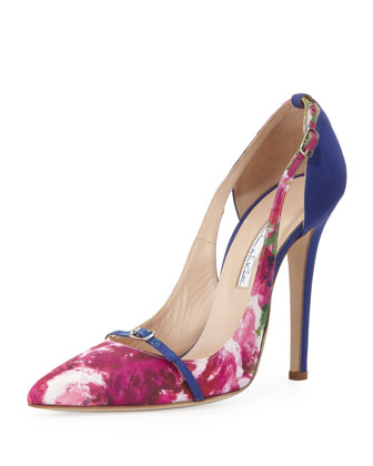 Pointed-Toe Pump, Floral/Blue