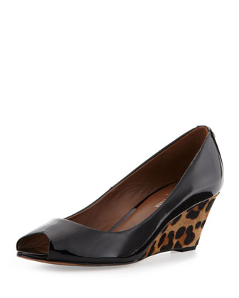 Millie Patent Animal-Print-Wedge Pump