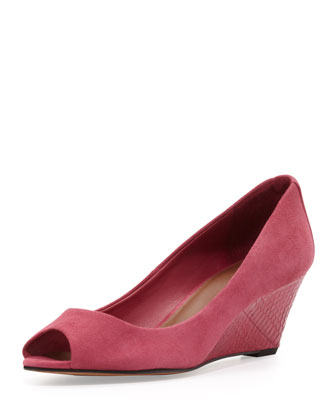 Milli Peep-Toe Suede Wedge, Berry