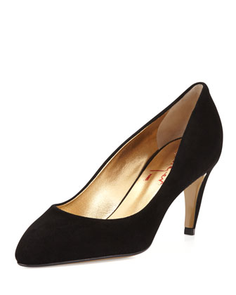 Sedution Suede Low-Heel Pump, Nero