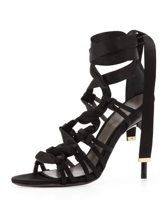 Satin Strappy Sandal, Black