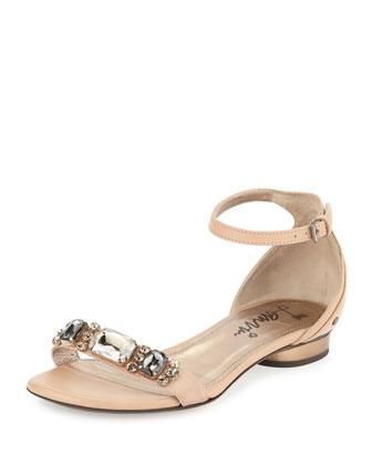 Crystal-Toe-Strap Sandal, Nude