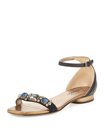 Crystal-Toe-Strap Sandal, Black
