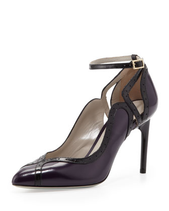 Brogue-Trim Ankle-Wrap Pump, Violet/Black