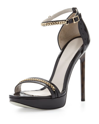 Platform Sandal with Chain Trim, Black