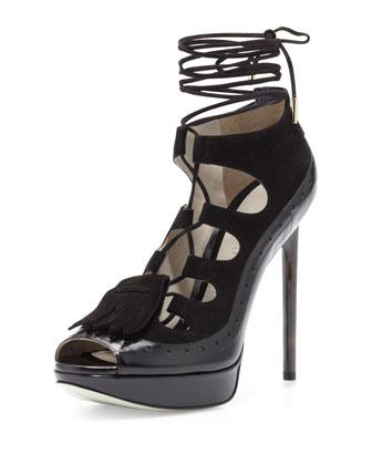 Suede Gladiator Platform, Black