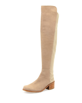 50/50 Wide Nubuck Stretch Over-the-Knee Boot, Tan
