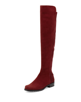 50/50 Wide Suede Stretch Over-the-Knee Boot, Scarlet