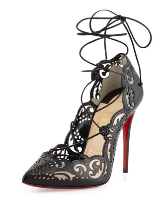 Impera Lace-Up Laser-Cut Red Sole Pump, Black