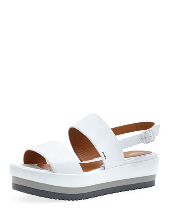Napa Leather Platform Sandal, White