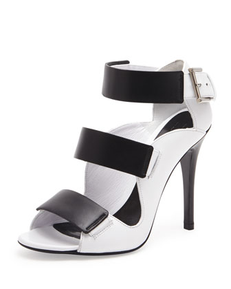 Triple Band Leather Sandal, Black/Ivory