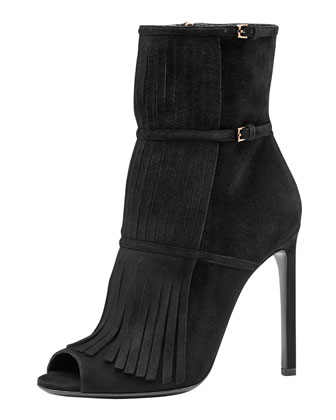 Becky Fringe Ankle Boot, Black
