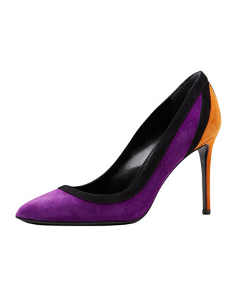 Brooke Suede Point-Toe Pump, Black/Berry