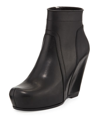 Side-Zip Wedge Ankle Boot